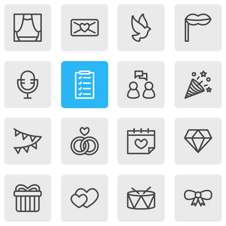 illustration of 16 party icons line style. Editable set of mic, drums, heart and other icon elements.