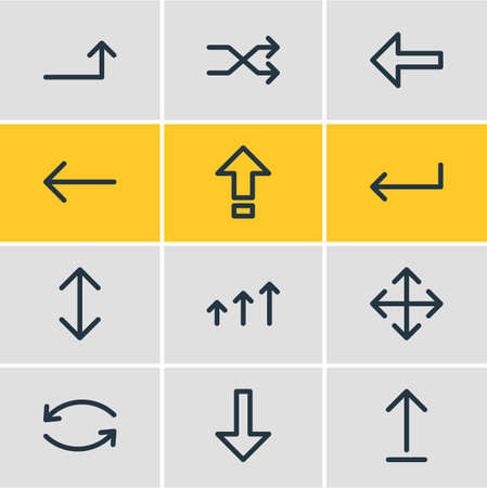 Illustration pour Vector illustration of 12 sign icons line style. Editable set of up-down, turn, caps lock and other icon elements. - image libre de droit