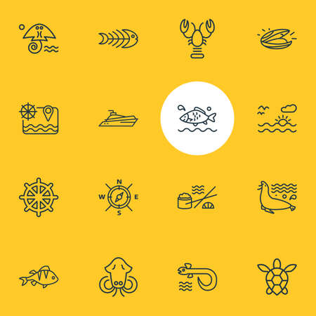 Foto de illustration of 16 naval icons line style. Editable set of sunset in the sea, fish bone, lobster and other icon elements. - Imagen libre de derechos