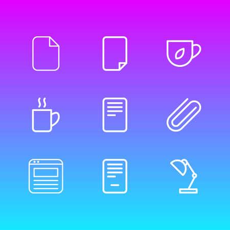 Ilustración de Vector illustration of 9 workplace icons line style. Editable set of file, coffee mug, blank and other icon elements. - Imagen libre de derechos