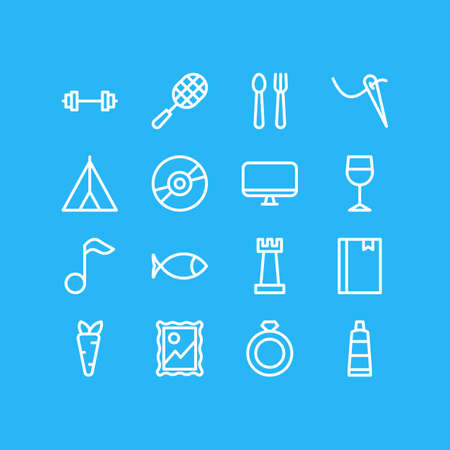illustration of 16 hobby icons line style. Editable set of bookmark, picture, monitor and other icon elements.