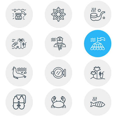 illustration of 12 sea icons line style. Editable set of ship window, sea lion, smoking pipe and other icon elements.