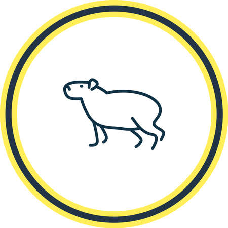 Illustration pour Vector illustration of capybara icon line. Beautiful zoo element also can be used as gerbil icon element. - image libre de droit