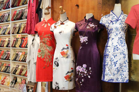 Photo for Chinese traditional dress store with cheongsam. - Royalty Free Image