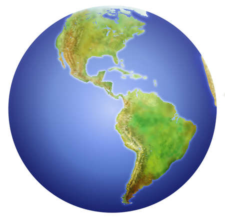 Planet Earth showing North, Central, and South America.