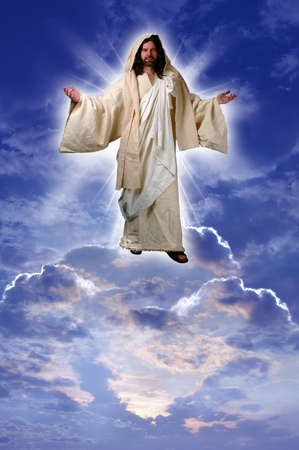 Jesus on a cloud taken up to heaven after his resurrection according to Acts chapter 1