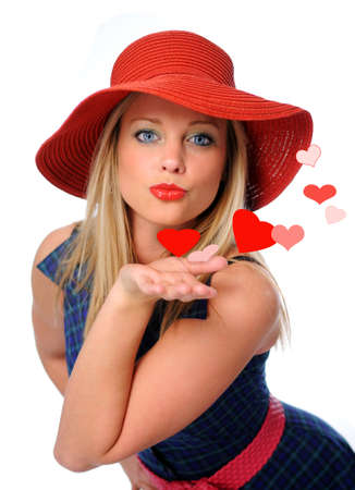 young beautiful woman blowing kissed to her valentines