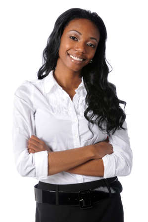 Portrait of young African American businesswoman with arms crossed
