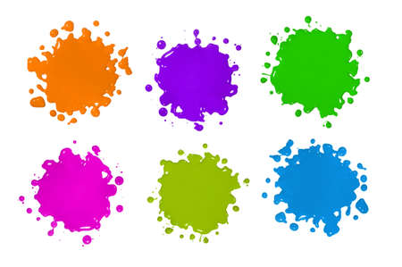 Various color paint splatters isolated over white background