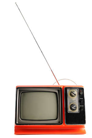 Orange vintage television from the 1970s: Royalty-free