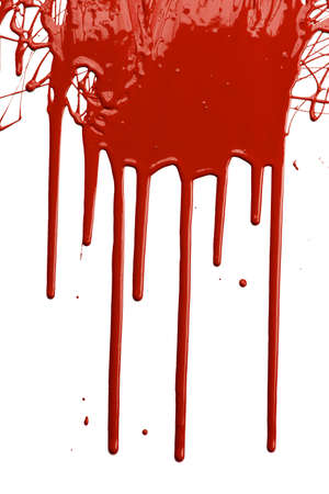 Red paint dripping isolated over white background