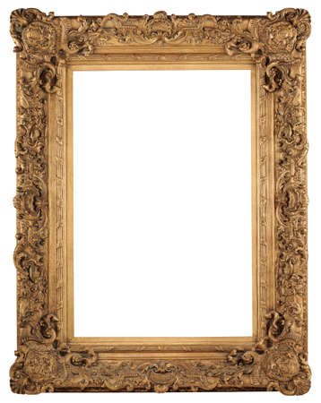 Golden vintage frame isolated over white background