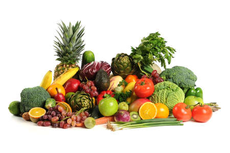 Photo for Fresh fruits and vegetables over white background - Royalty Free Image