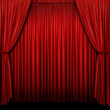 Red curtains with lights and shadows in square format