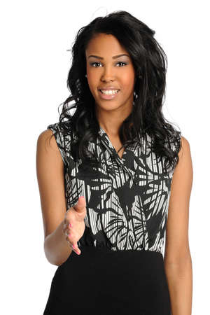 African American businesswoman extending hand isolated over white background