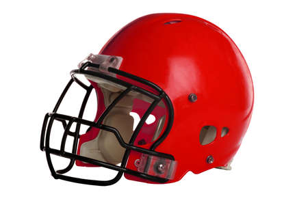 Photo for Red football helmet isolated over white background - With Clipping Path - Royalty Free Image