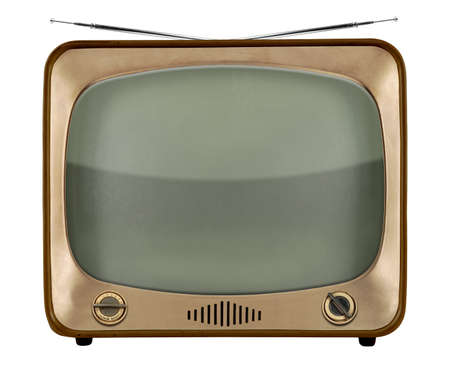 Vintage TV from the 1950s isolated over white background