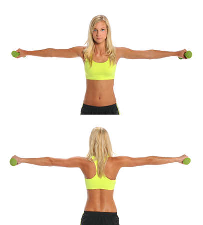 Front and back views of beautiful young woman exercising with dumbbells isolated over white background