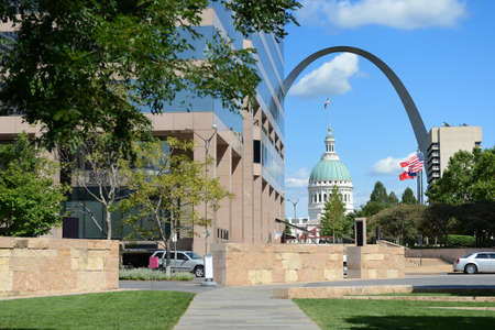 View of downtown Saint Louis, with Arch and Courthouse in background