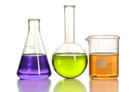 Laboratory glassware isolated over white background - With clipping path