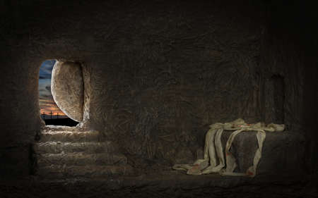 Photo pour Empty tomb of Jesus with crosses in far hill - image libre de droit