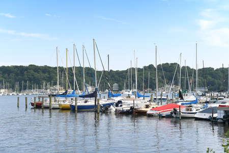 Photo for Sailboats in Holland Michigan Harbor - Royalty Free Image