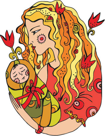 Illustration pour Mother with chiln in her arms, vector. - image libre de droit