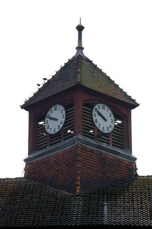 The photograph of a watch tower of a disused hospital