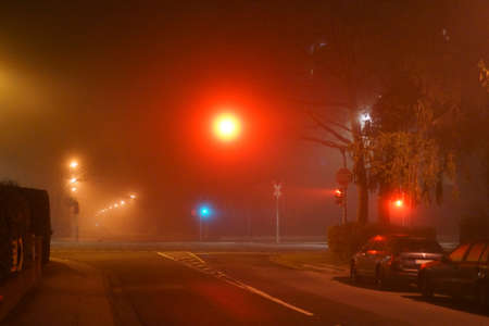A street with glowing street lamps and a traffic light crossing in the night and in the fog.