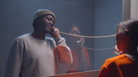 Photo pour Communication with the prisoner in the visit room - image libre de droit
