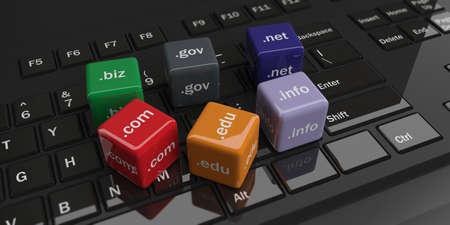 Photo pour 3d rendering cubes with domain names on a black keyboard - image libre de droit
