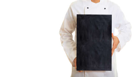 Chef holding a board isolated on white background