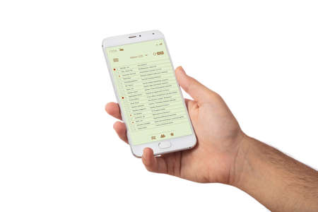 Photo pour Email on mobile phone. Man hand holding a smartphone, email list on the screen, isolated against white color background - image libre de droit