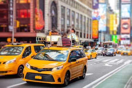 Photo for New York, Times square. Broadway streets. High buildings, colorful neon lights, large commercial ads, cars and traffic - Royalty Free Image