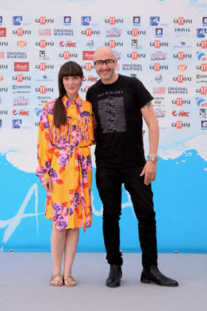 Giffoni Valle Piana, Sa, Italy - July 20, 2018 : Saturnino and Victoria Cabello at Giffoni Film Festival 2018 - on July 20, 2018 in Giffoni Valle Piana, Italy