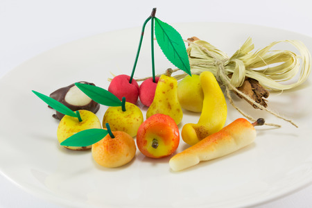 Colorful sweet marzipan fruit candies dessert