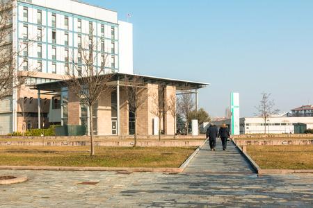 public modern hospital building entrance