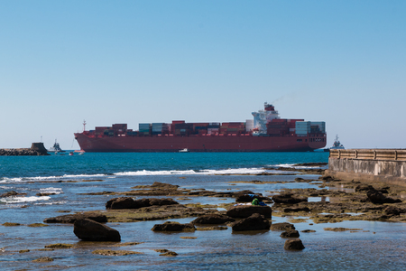 Large Red Container Ship Near Coastline