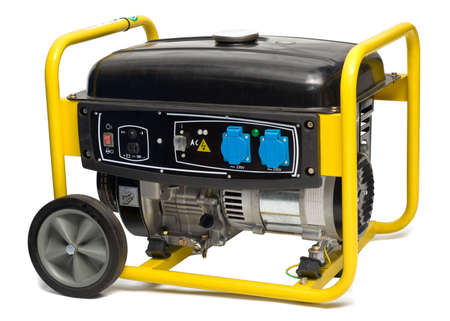 Yellow-black electric AC generator isolated on white background
