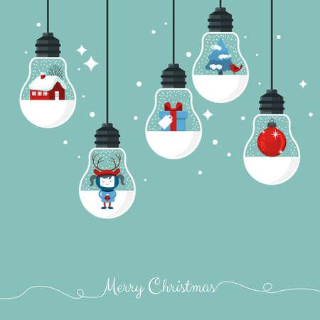 Illustration pour Modern Christmas card flat  stylish design. Creative design with hanging light bulbs - image libre de droit