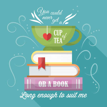Tea cup and books modern typography poster design: Royalty