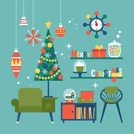 Illustration pour Modern creative Christmas greeting card design with mid century furnitureand Christmas decorations. Vector illustration - image libre de droit