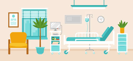 Illustration for Hospital room interior with hospital bed, medical equipment, monitor and furniture.  - Royalty Free Image
