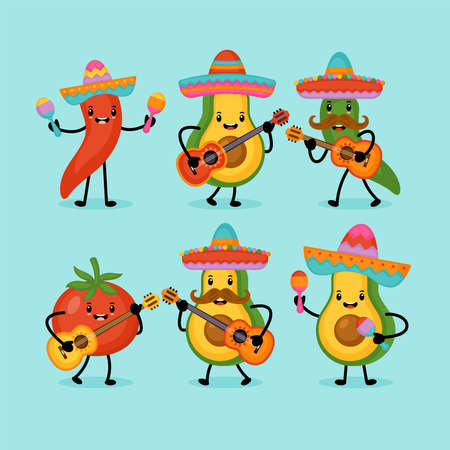 Illustration pour Cinco de Mayo Mexican Holiday greeting card design cute funny avocado, hot pepper and tomato characters. - image libre de droit