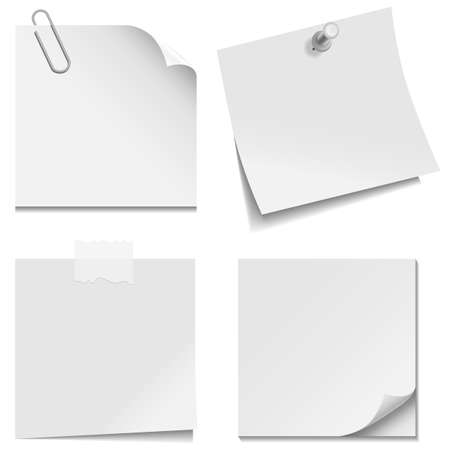 White Paper Notes - Set with paper clip, clear tape, and tack isolated on white background