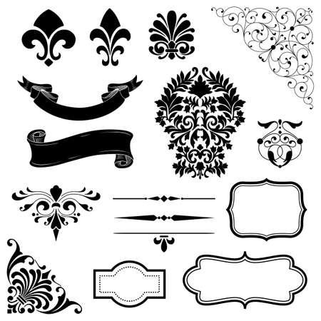 Illustration pour Ornament Set - Set of black vector ornaments - scrolls, banners, frames, rule lines and corner elements. - image libre de droit