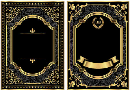 Illustration pour Gold Vintage Scroll Frames - Set of two vintage style scroll frames with gold and damask details.  Damask pattern swatch is already in the swatches panel for easy use. - image libre de droit
