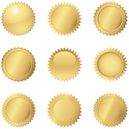Ilustración de Gold Seals  Set of 9 different gold seals. - Imagen libre de derechos
