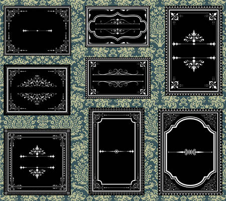 Ornate Vintage Frames  Set of Ornate vector frames.  Each frame is grouped individually for easy editing.  Colors are global.  Seamless pattern included in swatches window.