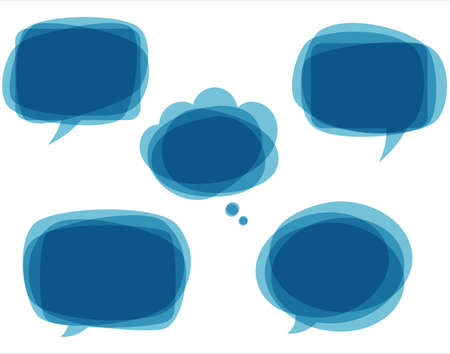 Blue Speech Bubbles - Set of blue, abstract speech bubbles.  Each element is grouped individually for easy editing.